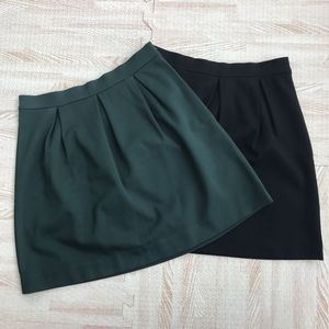 2 MADEWELL Black & Green Pleated Skirts